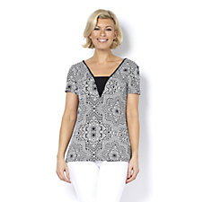Short Sleeve Printed Top with Neck Insert by Nina Leonard