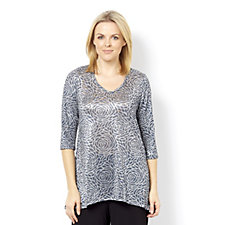 Kim & Co Foil Roses Knit 3/4 Sleeve Tunic