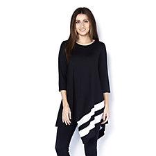 Yong Kim Modal 3/4 Sleeve Tunic with Stripe Border