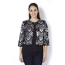 Bob Mackie 3/4 Sleeve Sequin Jacket with Sleeveless Scoop Neck Top