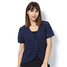 Denim & Co. Novelty Stitch Short Sleeve Button Front Shrug