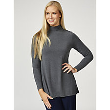 H by Halston Essentials Mock Neck Top with Forward Notch Detail