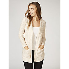 Absolutely Famous Sequined Popcorn Knit Open Cardigan with Pockets