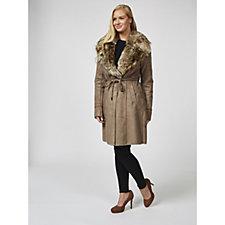 Rino & Pelle Faux Suede Faux Fur Trim Belted Coat