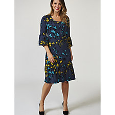 Kim & Co Scattered Floral Brazil Knit 3/4 Frill Sleeve Dress