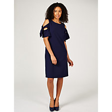 Ronni Nicole Cold Shoulder Crepe Dress with Sleeve Tie Detail