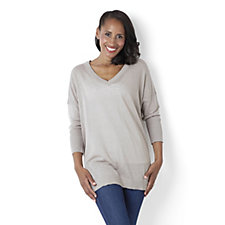 Diane Gilman Linen Blend V Neck Sweater with Dolman Sleeves