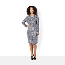 Printed Jersey Wrap Dress by Nick Verreos