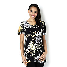 Kim & Co Vibrant Orchids Brazil Knit Angel Sleeve Tunic