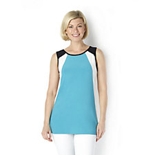 159845 - Sleeveless Colourblock Angled Tunic by Nina Leonard