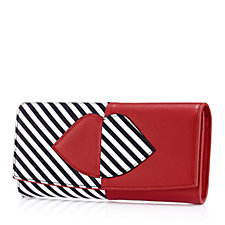 Lulu Guinness 50:50 Stripe Lip Leather Beth Wallet