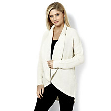 H by Halston Silk Cashmere Cascade Front Cardigan