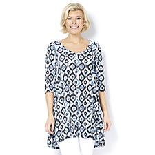 Join Clothes Scoop Neck Printed Half Sleeve Tunic