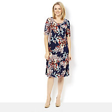 Kim & Co Brushed Venechia Serenity Floral Elbow Short Sleeve Flared Dress