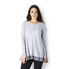 Logo by Lori Goldstein Henley Waffle-Knit Lace Hem Top