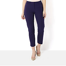 Isaac Mizrahi Live 24/7 Stretch Petite Length Straight Leg Trousers