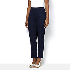 Isaac Mizrahi Live Knit Denim Regular Ankle Pull On Trousers