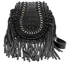 Aimee Kestenberg Genny Luxury Pebble Leather Suede Crossbody Bag