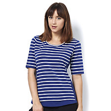 Denim & Co. Striped Scoop Neck Elbow Sleeve Top with Solid Side Panels