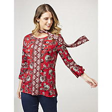 Printed Liquid Knit Top with Tie by Susan Graver
