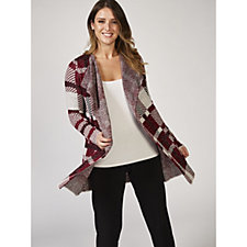 Absolutely Famous Plaid Jacquard Open Cardigan