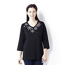 Quacker Factory Sparkling Snowflake 3/4 Sleeve Top