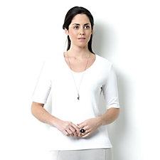 Kim & Co Semi V-Neck Short Sleeve Top