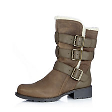Clarks Orinocco Bloom Mid Calf Faux Fur Lined Biker Boot with Buckle Trim