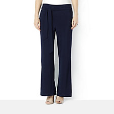 Wide Leg Trousers with Tie Waist by Nina Leonard