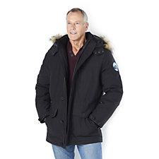 Canadiana Faux Fur Trim Men's Parka Jacket with Faux Fur Trimmed Hood
