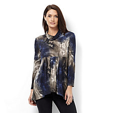 Mr Max Animal Print Cowl Neck Tunic with Side Pocket Detail