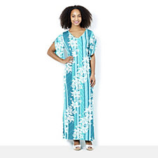 Bob Mackie V Neck Printed Maxi Dress