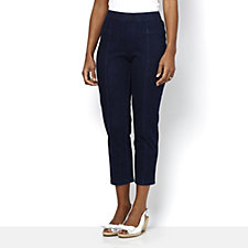 Isaac Mizrahi Live Knit Denim Petite Ankle Pull On Trousers
