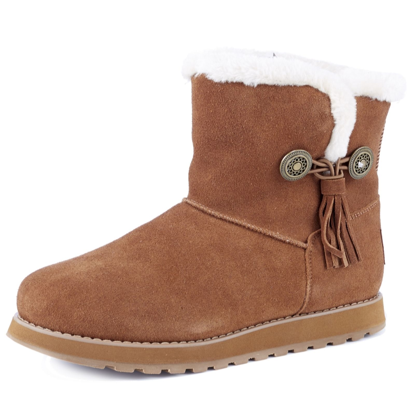 skechers womens boots. skechers keepsakes tassle boot with faux fur lining \u0026 memory foam - 165146 womens boots