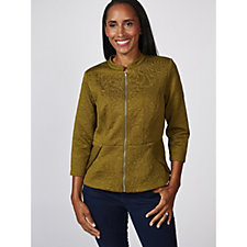 Isaac Mizrahi Live Embossed Knit Jacket with 3/4 Sleeves & Round Neck