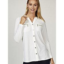 Textured Liquid Knit Shirt with Zipper Pockets by Susan Graver
