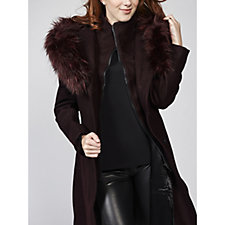 Centigrade Wool Blend Coat with Removable Faux Fur Hood