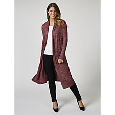 Long Sleeve Open Front Marl Duster with Patch Pockets by Nina Leonard