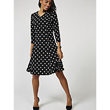 Printed Liquid Knit V Neck 3/4 Sleeve Dress by Susan Graver