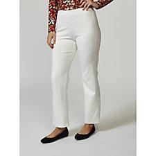 Kim & Co Milano Knit Elastic Waistband Straight Leg Petite Trousers