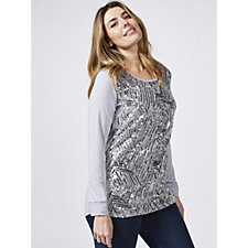 Antthony Designs Long Sleeve Sequin Embellished Front Top