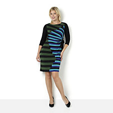 Ronni Nicole 'O So Slim' Stripe Detail 3/4 Sleeve Dress