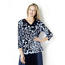 3/4 Sleeve Printed V-Neck Top by Susan Graver
