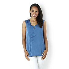 H by Halston Sleeveless Wrap Front Top with Jersey Back