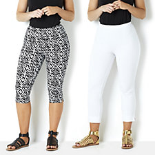 Women with Control Printed Pedal Pusher & Solid Crop