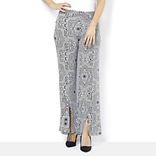 Printed Trousers with Slit Hem by Nina Leonard