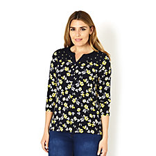 Printed Liquid Knit Henley Top by Susan Graver