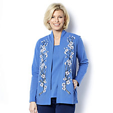 Bob Mackie Blossom Embroidered Cardigan Knitted Top Set
