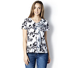 H by Halston Printed Frill Detail Top