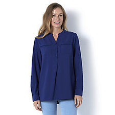 Denim & Co. Long Sleeve Button Front Blouse with Crochet Detail